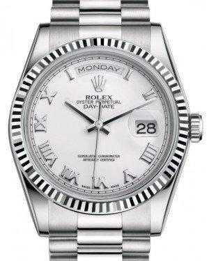 Rolex Day-Date 36 White Gold White Roman Dial & Fluted Bezel President Bracelet 118239 - Luxury Time NYC INC