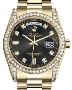 Rolex Day-Date 36 Yellow Gold Black Diamond Dial & Diamond Set Case & Bezel President Bracelet 118388 - Luxury Time NYC INC