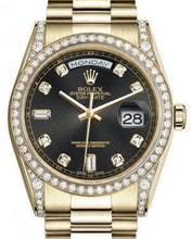 Load image into Gallery viewer, Rolex Day-Date 36 Yellow Gold Black Diamond Dial & Diamond Set Case & Bezel President Bracelet 118388 - Luxury Time NYC INC