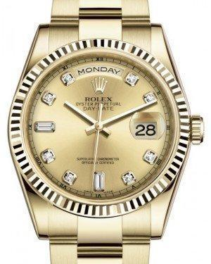 Rolex Day-Date 36 Yellow Gold Champagne Diamond Dial & Fluted Bezel Oyster Bracelet 118238