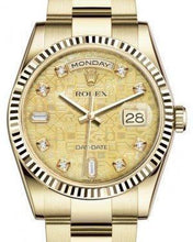 Load image into Gallery viewer, Rolex Day-Date 36 Yellow Gold Champagne Mother of Pearl Jubilee Diamond Dial & Fluted Bezel Oyster Bracelet 118238