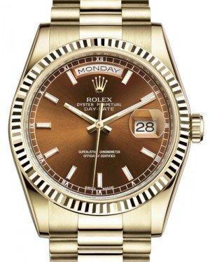 Rolex Day-Date 36 Yellow Gold Cognac Brown Index Dial & Fluted Bezel President Bracelet 118238 - Luxury Time NYC INC