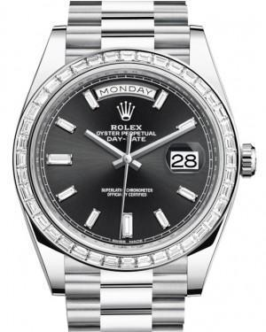Rolex Day-Date 40 Platinum Black Diamond Dial & Diamond Bezel President Bracelet 228396TBR - Luxury Time NYC INC