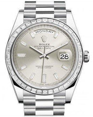Rolex Day-Date 40 Platinum Silver Diamond Dial & Diamond Bezel President Bracelet 228396TBR - Luxury Time NYC INC