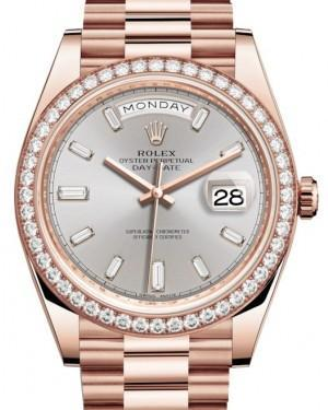 Rolex Day-Date 40 Rose Gold Sundust Diamond Dial & Diamond Bezel President Bracelet 228345RBR - Luxury Time NYC INC