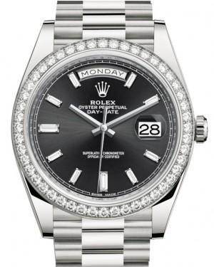 Rolex Day-Date 40 White Gold Black Diamond Dial & Diamond Bezel President Bracelet 228349RBR - Luxury Time NYC INC