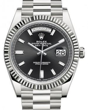Rolex Day-Date 40 White Gold Black Diamond Dial & Fluted Bezel President Bracelet 228239 - Luxury Time NYC INC
