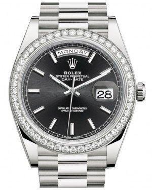 Rolex Day-Date 40 White Gold Black Index Dial & Diamond Bezel President Bracelet 228349RBR - Luxury Time NYC INC
