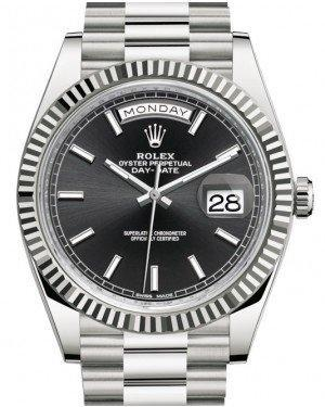 Rolex Day-Date 40 White Gold Black Index Dial & Fluted Bezel President Bracelet 228239 - Luxury Time NYC INC
