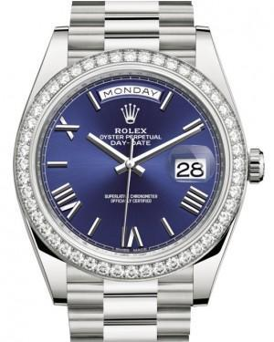 Rolex Day-Date 40 White Gold Blue Roman Dial & Diamond Bezel President Bracelet 228349RBR - Luxury Time NYC INC