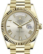 Load image into Gallery viewer, Rolex Day-Date 40 Yellow Gold Silver Roman Dial & Fluted Bezel President Bracelet 228238