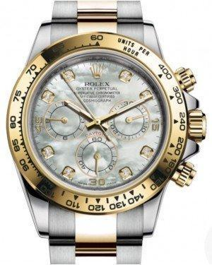 Rolex Daytona Yellow Gold/Steel White Mother of Pearl Diamond Dial Yellow Gold Bezel Oyster Bracelet 116503