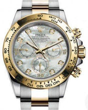 Load image into Gallery viewer, Rolex Daytona Yellow Gold/Steel White Mother of Pearl Diamond Dial Yellow Gold Bezel Oyster Bracelet 116503