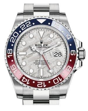 Rolex GMT Master II White Gold Meteorite Luminous Dial Red/Blue Ceramic Bezel Oyster Bracelet 126719BLRO - Luxury Time NYC INC