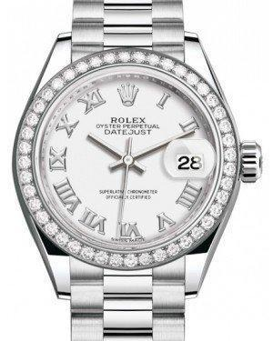 Rolex Lady Datejust 28 Platinum White Roman Dial & Smooth Domed Bezel President Bracelet 279136RBR - Luxury Time NYC INC
