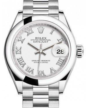 Rolex Lady Datejust 28 Platinum White Roman Dial & Smooth Domed Bezel President Bracelet 279166 - Luxury Time NYC INC