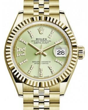 Rolex Lady Datejust 28 Yellow Gold Linden Diamond Index/Roman IX Dial & Fluted Bezel Jubilee Bracelet 279178 - Luxury Time NYC INC