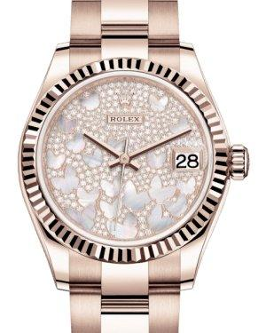 Rolex Lady-Datejust 31 Rose Gold Mother of Pearl Butterfly Diamond Paved Dial & Fluted Bezel Oyster Bracelet 278275 - Luxury Time NYC INC