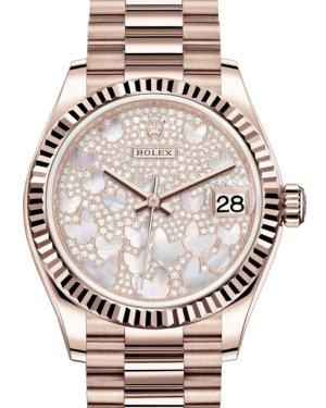 Rolex Lady-Datejust 31 Rose Gold Mother of Pearl Butterfly Diamond Paved Dial & Fluted Bezel President Bracelet 278275 - Luxury Time NYC INC