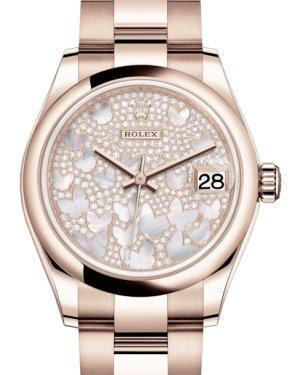 Rolex Lady-Datejust 31 Rose Gold Mother of Pearl Butterfly Diamond Paved Dial & Smooth Domed Bezel Oyster Bracelet 278245 - Luxury Time NYC INC