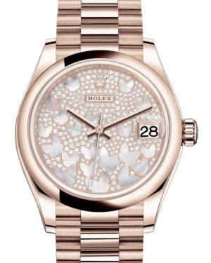 Rolex Lady-Datejust 31 Rose Gold Mother of Pearl Butterfly Diamond Paved Dial & Smooth Domed Bezel President Bracelet 278245 - Luxury Time NYC INC