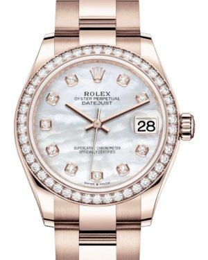Rolex Lady-Datejust 31 Rose Gold White Mother of Pearl Diamond Dial & Diamond Bezel Oyster Bracelet 278285RBR - Luxury Time NYC INC