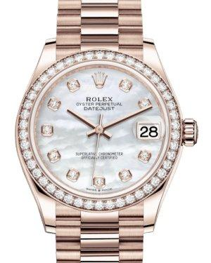 Rolex Lady-Datejust 31 Rose Gold White Mother of Pearl Diamond Dial & Diamond Bezel President Bracelet 278285RBR - Luxury Time NYC INC