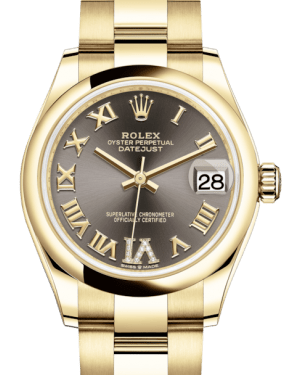 Rolex Lady-Datejust 31 Yellow Gold Dark Grey Roman Diamond VI Dial & Smooth Domed Bezel Oyster Bracelet 278248