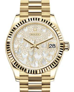 Rolex Lady-Datejust 31 Yellow Gold Mother of Pearl Butterfly Diamond Paved Dial & Fluted Bezel President Bracelet 278278 - Luxury Time NYC INC