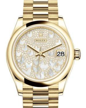 Rolex Lady-Datejust 31 Yellow Gold Mother of Pearl Butterfly Diamond Paved Dial & Smooth Domed Bezel President Bracelet 278248 - Luxury Time NYC INC