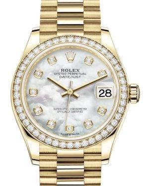 Rolex Lady-Datejust 31 Yellow Gold White Mother of Pearl Diamond Dial & Diamond Bezel President Bracelet 278288RBR - Luxury Time NYC INC