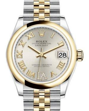 Rolex Lady-Datejust 31 Yellow Gold/Steel Silver Roman Diamond VI Dial & Smooth Domed Bezel Jubilee Bracelet 278243 - Luxury Time NYC INC