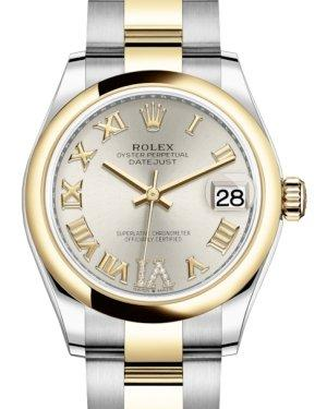 Rolex Lady-Datejust 31 Yellow Gold/Steel Silver Roman Diamond VI Dial & Smooth Domed Bezel Oyster Bracelet 278243 - Luxury Time NYC INC