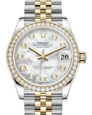 Rolex Lady-Datejust 31 Yellow Gold/Steel White Mother of Pearl Diamond Dial & Diamond Bezel Jubilee Bracelet 278383RBR - Luxury Time NYC INC