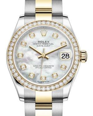 Rolex Lady-Datejust 31 Yellow Gold/Steel White Mother of Pearl Diamond Dial & Diamond Bezel Oyster Bracelet 278383RBR - Luxury Time NYC INC