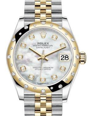 Rolex Lady-Datejust 31 Yellow Gold/Steel White Mother of Pearl Diamond Dial & Domed Set with Diamonds Bezel Jubilee Bracelet 278343RBR - Luxury Time NYC INC