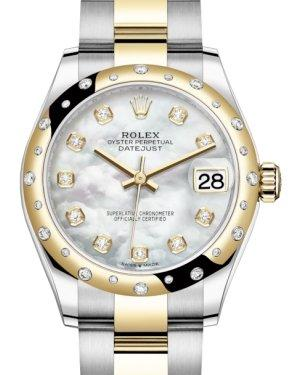 Rolex Lady-Datejust 31 Yellow Gold/Steel White Mother of Pearl Diamond Dial & Domed Set with Diamonds Bezel Oyster Bracelet 278343RBR - Luxury Time NYC INC