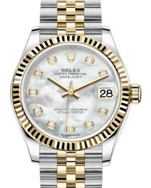 Rolex Lady-Datejust 31 Yellow Gold/Steel White Mother of Pearl Diamond Dial & Fluted Bezel Jubilee Bracelet 278273 - Luxury Time NYC INC