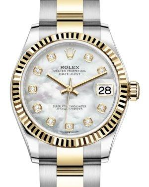 Rolex Lady-Datejust 31 Yellow Gold/Steel White Mother of Pearl Diamond Dial & Fluted Bezel Oyster Bracelet 278273 - Luxury Time NYC INC