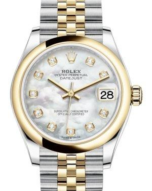 Rolex Lady-Datejust 31 Yellow Gold/Steel White Mother of Pearl Diamond Dial & Smooth Domed Bezel Jubilee Bracelet 278243 - Luxury Time NYC INC