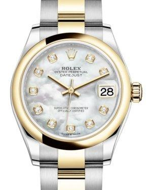 Rolex Lady-Datejust 31 Yellow Gold/Steel White Mother of Pearl Diamond Dial & Smooth Domed Bezel Oyster Bracelet 278243 - Luxury Time NYC INC