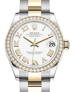 Rolex Lady-Datejust 31 Yellow Gold/Steel White Roman Dial & Diamond Bezel Oyster Bracelet 278383RBR - Luxury Time NYC INC