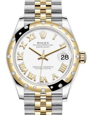 Rolex Lady-Datejust 31 Yellow Gold/Steel White Roman Dial & Domed Set with Diamonds Bezel Jubilee Bracelet 278343RBR - Luxury Time NYC INC
