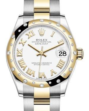 Rolex Lady-Datejust 31 Yellow Gold/Steel White Roman Dial & Domed Set with Diamonds Bezel Oyster Bracelet 278343RBR - Luxury Time NYC INC