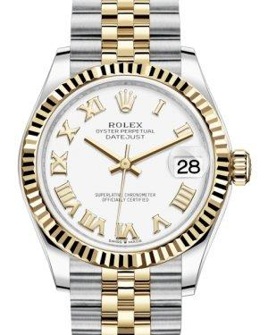 Rolex Lady-Datejust 31 Yellow Gold/Steel White Roman Dial & Fluted Bezel Jubilee Bracelet 278273 - Luxury Time NYC INC