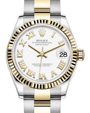 Rolex Lady-Datejust 31 Yellow Gold/Steel White Roman Dial & Fluted Bezel Oyster Bracelet 278273 - Luxury Time NYC INC