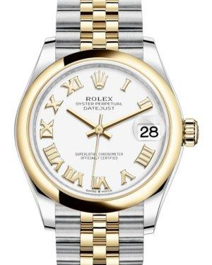 Rolex Lady-Datejust 31 Yellow Gold/Steel White Roman Dial & Smooth Domed Bezel Jubilee Bracelet 278243 - Luxury Time NYC INC