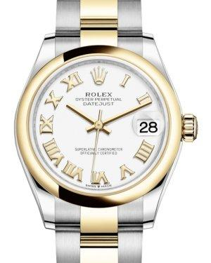 Rolex Lady-Datejust 31 Yellow Gold/Steel White Roman Dial & Smooth Domed Bezel Oyster Bracelet 278243 - Luxury Time NYC INC