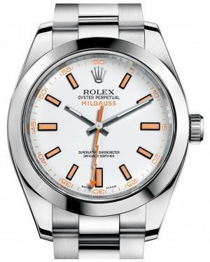 Rolex Milgauss 116400 White Index 116400WO Orange Stainless Steel - Luxury Time NYC INC