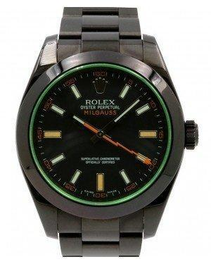 Rolex Milgauss Green Crysal Stainless Steel/PVD Black Dial & Bezel Oyster Bracelet 116400GV - Luxury Time NYC INC